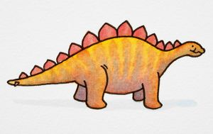 Cartoon, orange dinosaur with red spikes, side view