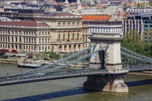 Chain Bridge over Danube river, Budapest, Hungary