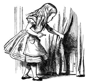 Alice and a tiny door illustration, (Alice's Adventures in Wonderland)