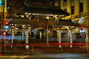 Chinatown Gate at night in San Francisco