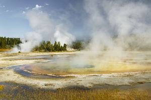 Chromatic Spring in Upper Geyser Basin on sunny day, Yellowstone National Park, Wyoming