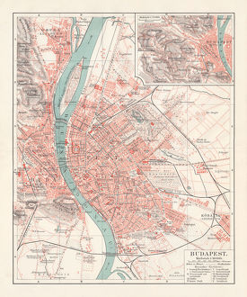 City map of Budapest, capital of Hungary, lithograph, published 1897
