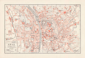 maps/antique maps/city map graz styria austria lithograph published