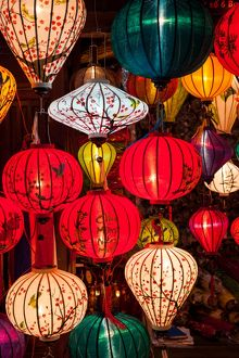 Close up on Lantern Shop in Hoi An, Vietnam