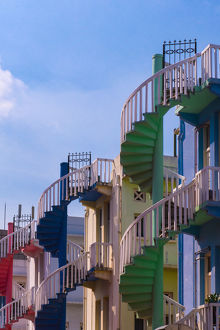 The colorful spiral staircases in Singapore