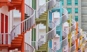 Colorful spiral stairs