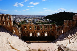 travel/unesco world heritage/colourful overview odeon herodes atticus athens