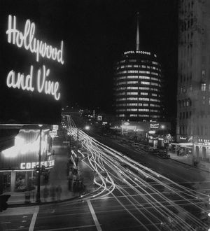 Corner of Hollywood Boulevard and Vine Street, with Capitol Records Building