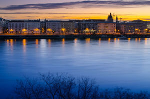 Danube river in the morning time , Budapest , Hungary