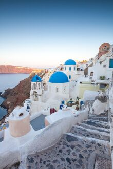 Dawn over famous village of Oia, Santorini, Greece
