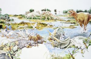 Dinosaurs and birds on swampy landscape
