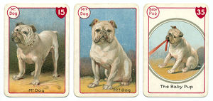 Three dog playing cards Victorian animal families game