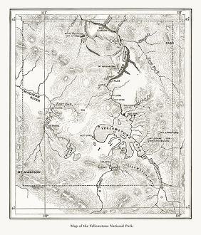 Early Antique Map of Yellowstone National Park, Wyoming, Montana, and Idaho, United States