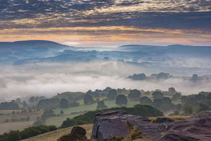 Eccles Pike above the fog, English Peak District. UK