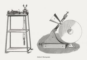 Edison's Phonograph from 1879, wood engravings, published in 1880