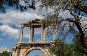 Elevated view of the Arch of Hadrian in central Athens