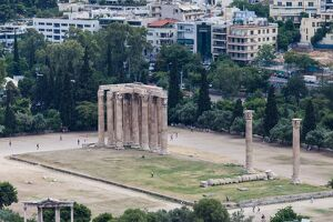Elevated view of the 'Temple of Olympian Zeus' colossal ruined temple in