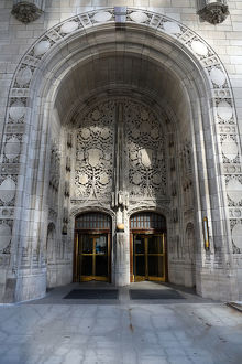 Entrance of Tribune Tower at Chicago, Illinois, USA