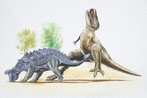 Euoplocephalus hitting a Tyrannosaurus with its tail club.