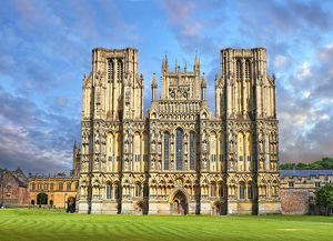 The facade of the medieval Wells Cathedral built in the Early English Gothic style in 1175