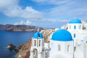 Famous town of Oia, Santorini, Greek islands
