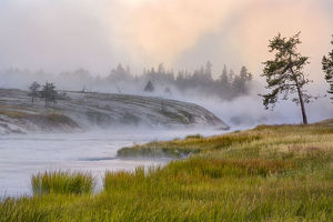 Firehole River in fog at sunrise, Yellowstone National Park, Wyoming, USA