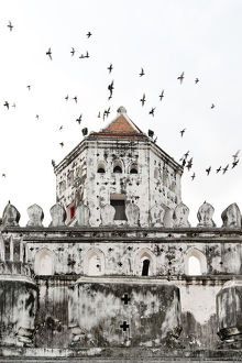 Flock of pigeons fly past a fort