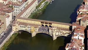 Florence aerial view on Ponte Vecchio