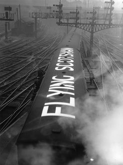 'Flying Scotsman' painted on the carriage roof of the famous train to enable the