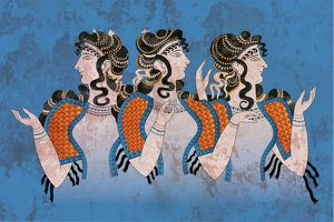 Fresco Three Minoan Women Knossos