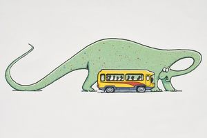 Giant green dinosaur standing next to minibus full of passengers bending its neck