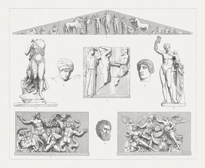 subjects/greek mythology decor prints/greek sculpture art olympia pergamon wood engravings