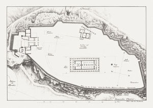 Ground plan of the Acropolis in Athens, lithograph, published c.1830