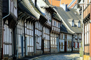 travel/unesco world heritage/half timbered houses cobbled street historic old