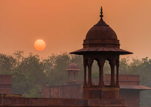 Hazy sunrise in India