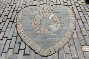 Heart of Midlothian, paving stones mosaic in front of St. Giles' Cathedral, High Street