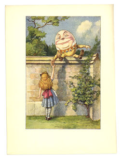 Humpty Dumpty on a wall illustration, (Alice's Adventures in Wonderland)