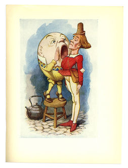 Humpty and the messenger illustration, (Alice's Adventures in Wonderland)