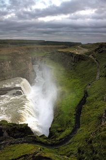 Icelandic Gullfoss waterfall canyon