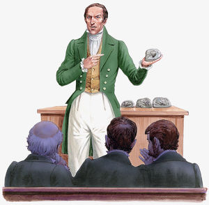 Illustration of 19th century paleontologist Gideon Mantell standing in front of audience