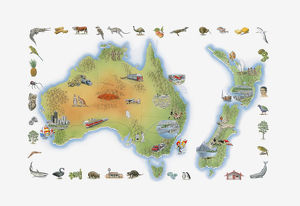 Illustration of Australia, Tasmania, and New Zealand, showing fauna, flora and places
