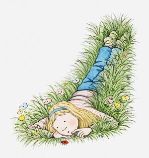 Illustration of girl lying in the grass looking at a ladybrid