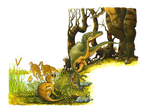 Illustration of green dinosaur at feet of large, predatory bipedal theropod, with