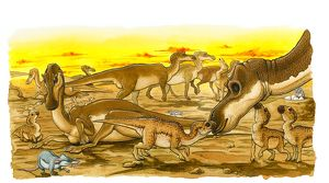 Illustration of herd of adult and young Hypsilophodon dinosaurs, with prehistoric