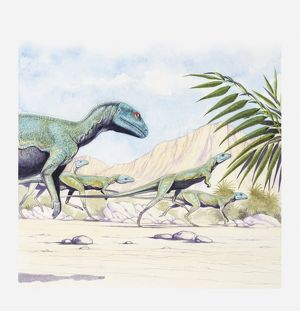 Illustration of a herd of Lesothosaurus on the move, early Jurassic period