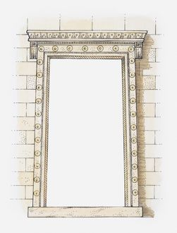 Illustration of an Ionic doorway, The Erechtheion, Athens, Greece
