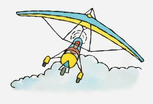 Illustration of person flying microlight above clouds