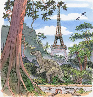 Illustration showing dinosaur in humid climate with Eiffel Tower in background