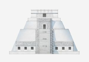 Illustration of Temple of the Magician, Uxmal, Mexico