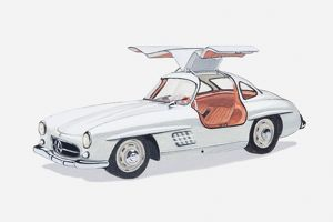 Illustration of vintage Mercedes Gullwing sports car, 1950s